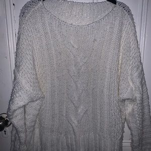 Nasty Gal White Cable Knit Sweater